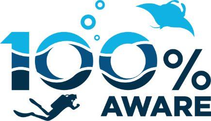 Logo 100% Aware PADI Dive center and PADI Dive Resort