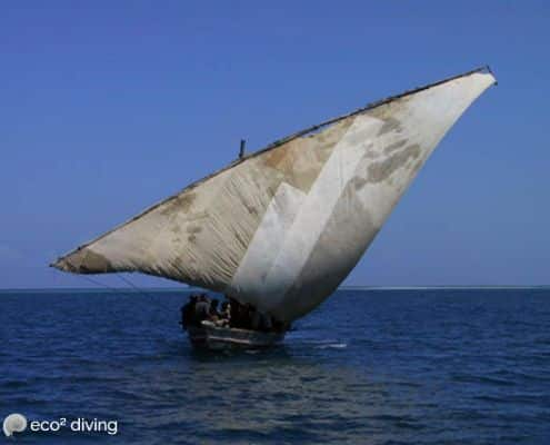 Typical dhow vessel boat with wide opened sail in the indian ocean away of Mikindani bay Mtwara South Tanzania
