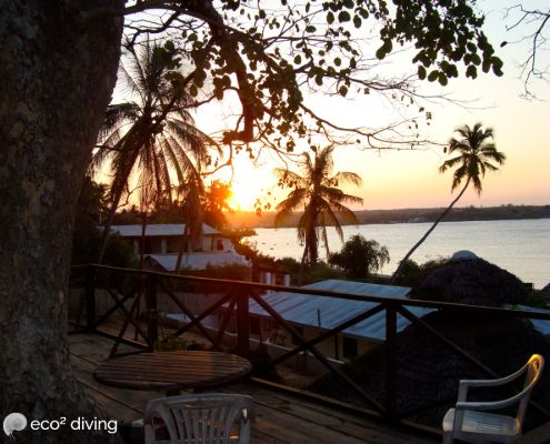 Sunset of the ocean in Mikindani bay from the tree platform of Ten Degrees South Lodge in Mikindani mtwara tanzania