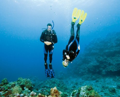 Two beginner divers upside down in the blue mastering buoyancy skills with PADI eco2 diving dive center mtwara tanzania